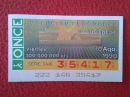 SPAIN CUPÓN DE ONCE LOTTERY LOTERÍA ESPAÑA 1990 EVOLUCIÓN Y PROGRESO EVOLUTION AND PROGRESS EL TELAR THE LOOM FILATURE.. - Billetes De Lotería