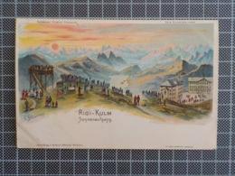 H441) Künstler-Lithographie C. Steinmann: Rigi-Kulm, Sonnenaufgang - SZ Schwyz