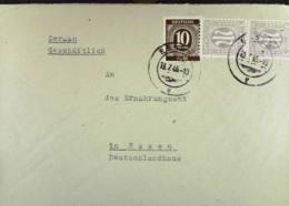 BiZ: Orts-Brief Mit 3 Pf Dt. Ausgabe Im Senkr. Paar Mit 10 Pf EA Ziffer Bedarfsm. Verwdg OSt Essen 13.7.46 Knr: 17(2),ua - American/British Zone