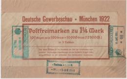 """Dt.Reich 10.April 22 Bogentaschenausschnitte Mit Aufkleber """" Deutsche Gewerbeschau München 1922 ... - Briefe U. Dokumente"""