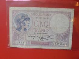 FRANCE 5 FRANCS 1940 CIRCULER (B.8) - 1871-1952 Antichi Franchi Circolanti Nel XX Secolo