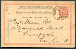 1892 Austria Karlsbad Stationery Postcard - Captain Stubbs, Royal Navy, Greenfield Road, Liverpool England - 1850-1918 Empire