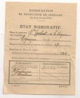 1943 RATION DE PAIN DE PRODUCTEUR DE CEREALES MEZANGER MAYENNE RATIONNEMENT B780 - Documents Historiques
