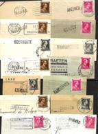 Belgique. 40 Fragments Avec Griffe D'origine (38 Différentes) - Griffes Linéaires