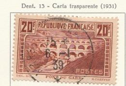 PIA - FRA - 1929-31 : Ponte Di Gard - Carta Trasparente    - (Yv 262/IIB) - Used Stamps