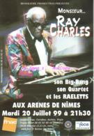 REF 399 : CPM Publicitaire Carte Pub Ray Charles Aux Arènes De Nimes - Publicité