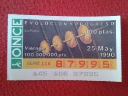 SPAIN CUPÓN DE ONCE LOTTERY LOTERÍA ESPAÑA 1990 EVOLUCIÓN Y PROGRESO EVOLUTION AND PROGRESS LA POLEA THE PULLEY POULIE - Billetes De Lotería