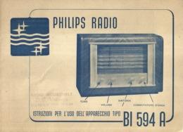 """5248 """" PHILIPS RADIO-ISTRUZIONI PER L'USO DELL'APPARECCHIO TIPO BI 594 A"""" ORIGINALE - Vieux Papiers"""