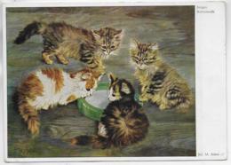 AK 0322  Junges Katzenvolk - Künstlerkarte Von Ju. M. Adam Ca. Um 1940-50 - Katzen