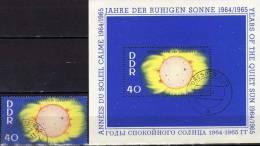 Sonnen-Korona Jahr Ruhigen Sonne 1964 Satellit DDR 1082+Block 21 O 8€ Rakete Wolken S/s Space Bloc Sheet Bf Germany - [6] Repubblica Democratica