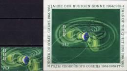 Strahlungs-Gürtel Jahr Ruhigen Sonne 1964 DDR 1083+Block 22 O 9€ Rakete Wolken Satellit Space Bloc Sheet Bf Germany - [6] Repubblica Democratica