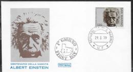 SAN MARINO - 1979 - 100° ALBERT EINSTEIN - 29.03.1979  - BUSTA F.D.C.(ROMA) - NON VIAGGIATA - Albert Einstein