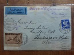SVIZZERA 1932 - Lettera Spedita Con Posta Aerea Dalla Svizzera In Cile (con Francobollo Da 2 Franchi) - Annulli Arrivo - Airmail