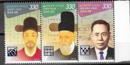 SOUTH KOREA, 2019, MNH, SCIENTISTS, 3v - Sciences