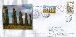 Lettre Unesco ÎLE DE PAQUES,  Adressée Andorra, Avec Timbre à Date Arrivée - Archéologie