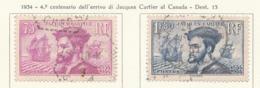 PIA - FRA - 1934 : 4° Centenario Dell' Arrivo Di Jacques Cartier Al Canada     - (Yv 296-97) - Usati