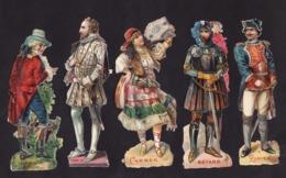 Découpis   Lot De 5     Personnages    Bayard, Carmen, Zuniga...       12.8 X 5.5 Cm Le Plus Grand - Découpis
