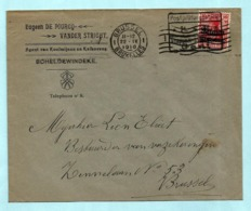 Briefhoofd SCHELDEWINDEKE + OC 3, Afst. POSTPRUFUNGSSTELLE GENT 21/04/1916 Naar BRUSSEL 22/04/1916 - WW I