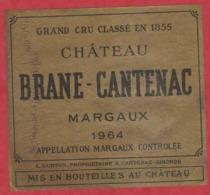 Etiquette - Vin - France - Margaux - 1964 - Château Brane-Cantenac. - Etiquetas