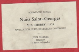 Etiquette - Vin - France - Nuits St-Georges - 1974 - Nuits St-Georges Aux Thorey. - Autres