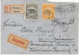 Brief Rekommandiert Express Fiume 1 / DEC 18 Nach Brünn (Brno) 19.12.19 - Censura Trieste - Bezetting 1° Wereldoorlog