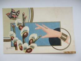 EASTER  ART DECO  ART NOVEAU  BUTTERFLY , WOMANS HAND , BY R. SÖÖT  , OLD POSTCARD , O - Ohne Zuordnung