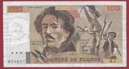 """100 Francs """"Delacroix"""" 1978 ---F/TTB+--ALPH H.1 ---NON HACHURE PEU COMMUN --1ER ALPHABET - 1962-1997 ''Francs''"""