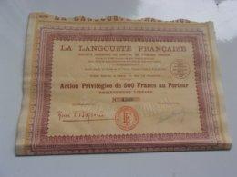 La Langouste Française (1928) - Actions & Titres