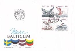 Letland - FDC 3-10-1992 - Naturschutz An Der Ostseeküste : Vögel - FDC M H-Bl 340-343 - Letland