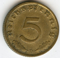 Allemagne Germany 5 Reichspfennig 1939 D J 363 KM 91 - 5 Reichspfennig