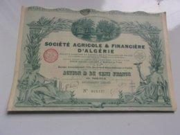 Agricole & Financière D'algérie (100 Francs) 1928 - Actions & Titres