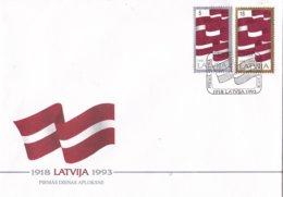Letland - FDC 11-11-1993 - 75 Jahre Letland - Rīga - Flagge Letlands - M FDC 361-362 - Letland