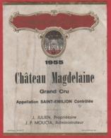 Etiquette - Vin - France - St. Emilion - 1955 - Château Magdelaine. Brrrrr - Etiquettes