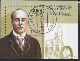 CUBA - 1992 - 80° RUDOLF DIESEL -  FOGLIETTO USATO (YVERT BF 133 - MICHEL 134) - Celebrità