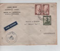 PR7122/ TPA 10(2)-262 S/L.Avion Franchise Partielle Congo Belge GVT Général Service Information +Cachet C.Léo 1947 > BXL - Congo Belge