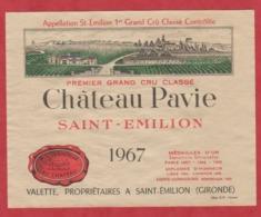 Etiquette - Vin - France - St. Emilion - 1967 - Château Pavie. - Etiquettes