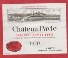 Etiquette - Vin - France - St. Emilion - 1970 - Château Pavie. - Etiquettes