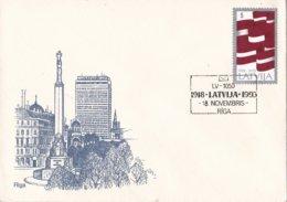 Letland - 75 Jahre Letland - Rīga/Jelgava/Rēzekne/Valmiera/Ventspils - Flagge Lattlands - M 361 - 5 Enveloppen - Letland