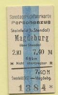 BRD - Pappfahrkarte  (DR) --> Steinfeld - Magdeburg - Railway