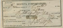 REGNO LOMBARDO-VENETO ,RICEVUTA D'IMPOSTAZIONE ,PER UN PACCO ,1854 -CREMONA -MILANO - Lombardo-Veneto
