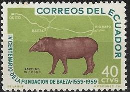 ECUADOR 1960 Fourth Centenary Of Baeza - 40c. Mountain Tapir MH - Equateur