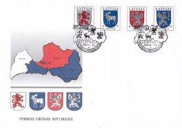 Letland - FDC 21-6-1994 - Wappen - M 371-374 - Letland