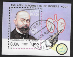 CUBA - 1993 - 150° ROBERT KOCH -  FOGLIETTO USATO (YVERT BF 135 - MICHEL 136) - Medicina