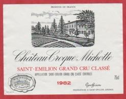 Etiquette - Vin - France - St. Emilion - 1982 - Château Croque Michotte. - Etiquetas