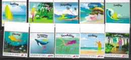 TONGA, 2019, MNH, ADVENTURES, WHALES, FISHING, DIVING, SAILING, BOATS, BIRD WATCHING, KAYAKING, 10v - Whales