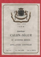 Etiquette - Vin - France - St. Estèphe-Médoc - 1966 - Château Calon-Ségur. Brrrr - Etiketten