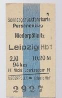 BRD - Pappfahrkarte  (DR) --> Niederpöllnitz Nach Leipzig ( Sonntagsrück ) - Bahn