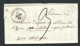 Lac De Bressuire Por Chateau Des Chezeaux (86) Marque 80 Jaulnay Au Dos En Janv 1845 + 1 Decime Rural Malc9110 - Postmark Collection (Covers)