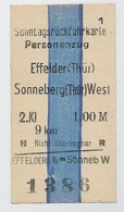 BRD - Pappfahrkarte  (DR) --> Effelder Nach Sonneberg ( Sonntagsrück ) - Bahn