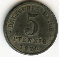 Allemagne Germany 5 Pfennig 1920 F J 297 KM 19 - [ 2] 1871-1918 : Empire Allemand